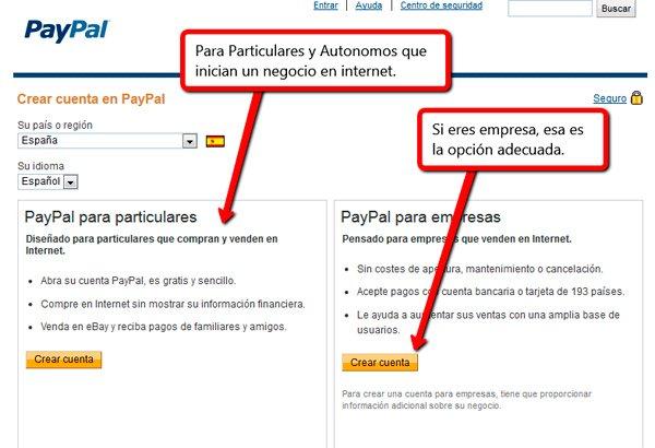 Opción cuentas Paypal