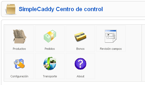 Panel de control simple caddy